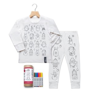Selfie Clothing Co. Color-In PJs in Cute Christmas