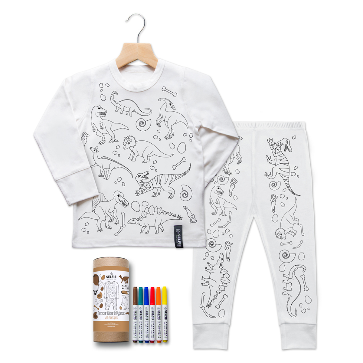 Selfie Clothing Co. Color-In PJs in Dinosaur