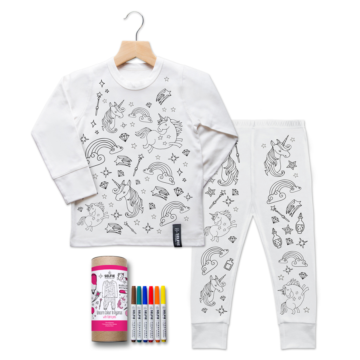 Selfie Clothing Co. Color-In PJs in Unicorn