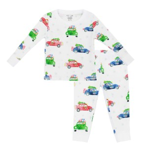 Hart & Land Toddler Pima Cotton Pajamas in Festive Cars Print