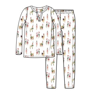 Hart & Land Women's Pima Cotton Pajamas in Festive Llamas Print
