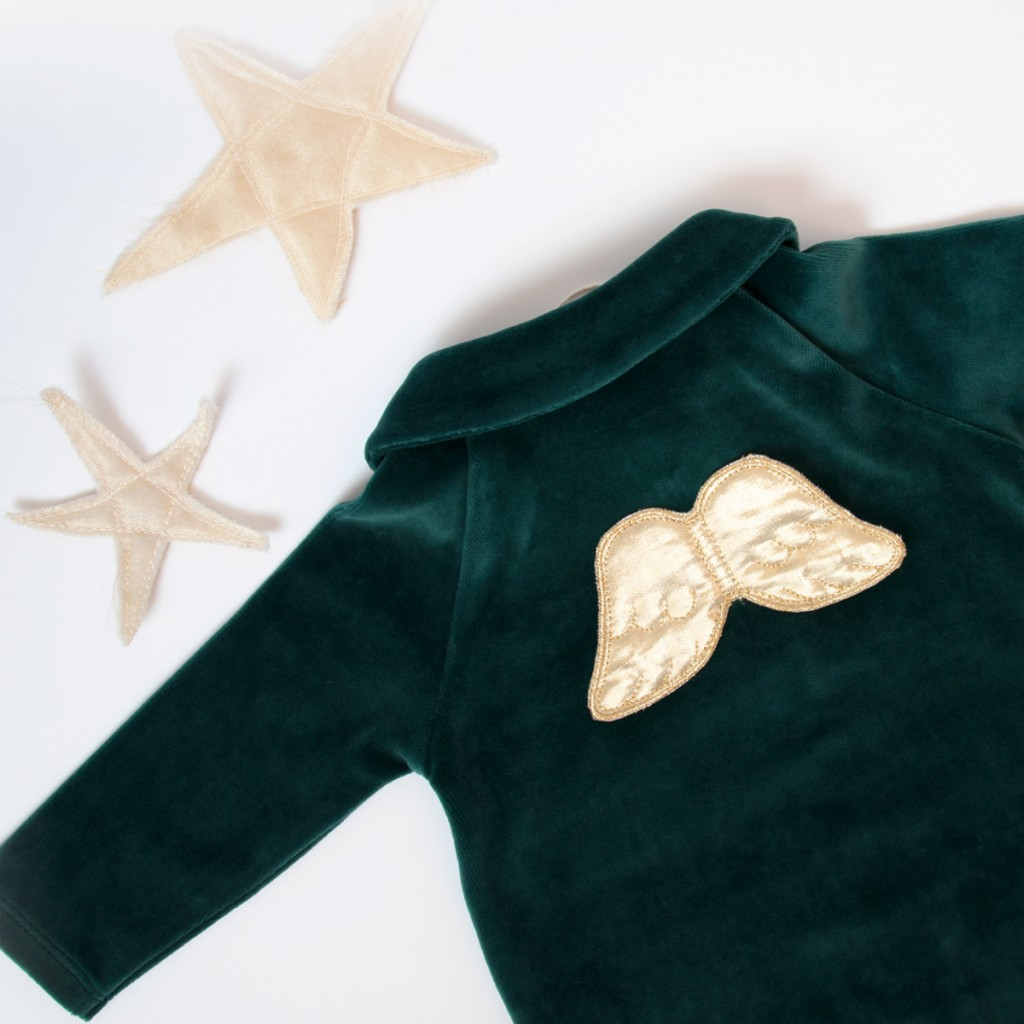 Marie Chantal Velour Footie with Gold Wings in Green