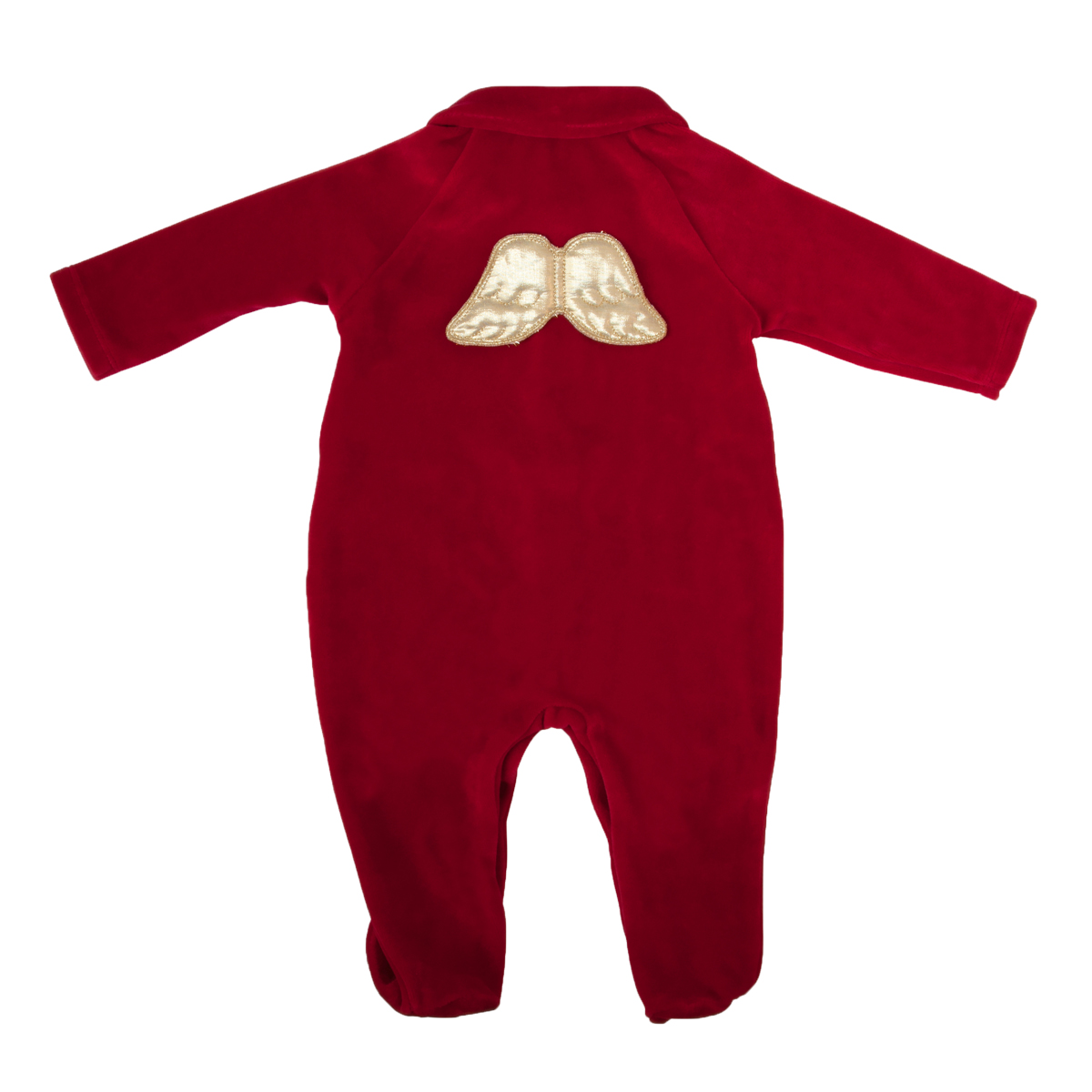Marie Chantal Velour Footie with Gold Wings in Red