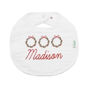 The Tot White Organic Bib with Personalized Embroidery in Red with 3 holiday wreaths