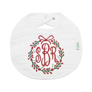 The Tot White Organic Bib with Personalized Monogram Embroidery in Red with Holiday wreath