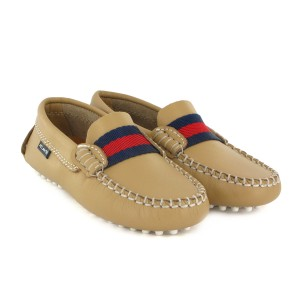 Atlanta Mocassin Leather Strap Moccasin in Beige