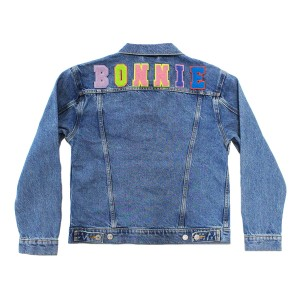Levi's Denim Jacket with Custom Patch Name in Bright Alphabet