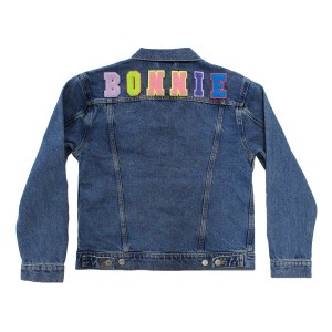 Levi's Women's Denim Trucker Jacket with Bright Alphabet patches on back