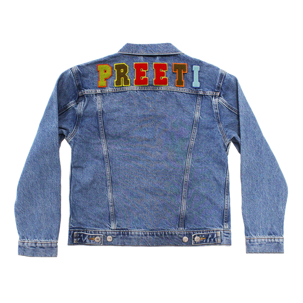 Levi's Denim Jacket with Custom Patch Name in Earth Tone Alphabet