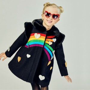 Little Goodall Queen of Hearts Coat in Black on girl