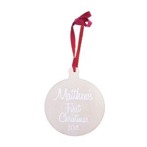 Modern Blocks Wooden Baby's First Christmas Ornament in White