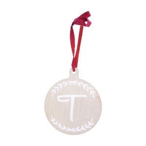 Modern Blocks Wooden Custom Initial Ornament in White