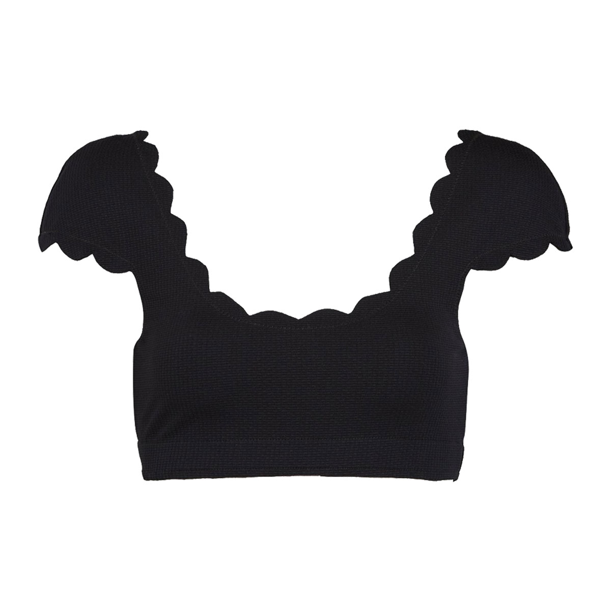 Marysia Scalloped Mexico Bikini Top in Black