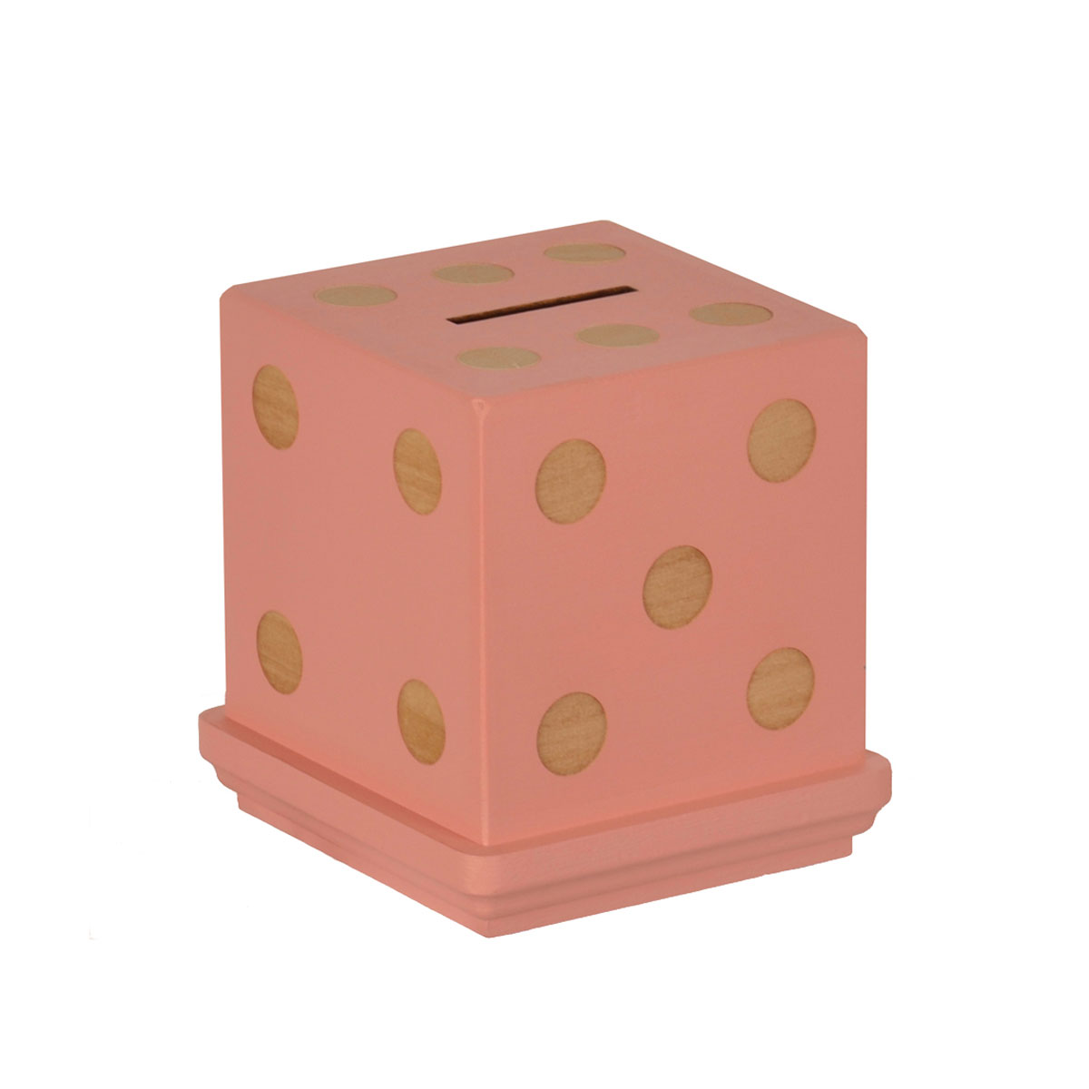 Tree by Kerri Lee Wooden Dice-Shaped Piggy Bank in Pink