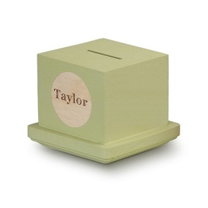 Tree by Kerri Lee Wooden Square Piggy Bank with custom name on front in green