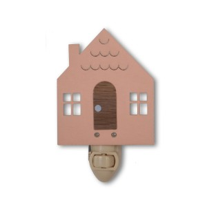 Tree by Kerri Lee Wooden Cottage-Shaped Plug-In nightlight in pink