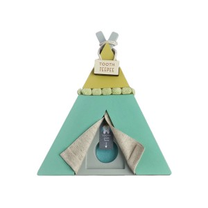 Tree by Kerri Lee Wooden Teepee-Shaped Tooth Fairy holder in Green
