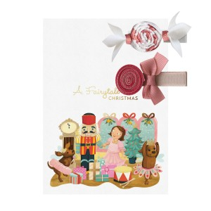 Milledeux Holiday Bonbon & Lollipop Shaped Hair Bow Set in Pink