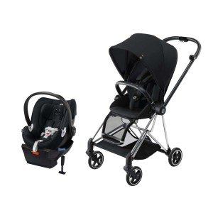 Cybex Mios Stroller in Stardust Black with Chrome Frame and Free Cybex Aton Car Seat