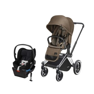 Cybex Priam Stroller in Cashmere Beige with Chrome Frame and Free Cybex Cloud Q Plus Car Seat