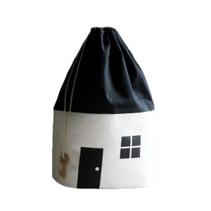 Rock & Pebble Organic Cotton House Shaped Storage Bag Large in White & Black