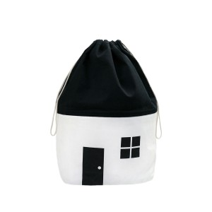 Rock & Pebble Organic Cotton House Shaped Storage Bag Medium in White & Black