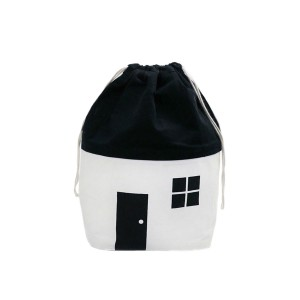 Rock & Pebble Organic Cotton House Shaped Storage Bag Small in White & Black