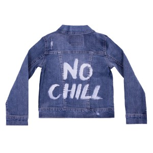 Levis Denim Trucker Jacket with No Chill Painted in white