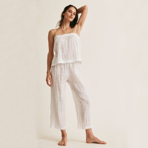 Skin Nicolette Crop Sleep Pant in white