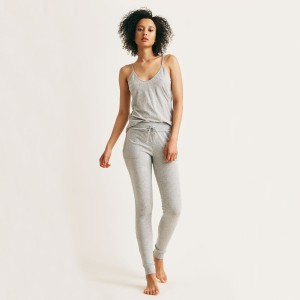 Skin Skinny Sleep Pant in Heather Grey on woman