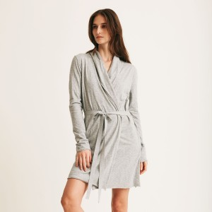 Skin Double Layer Wrap Robe in Heather Grey