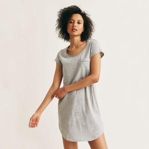 Skin Short Sleeve Sleep Shirt in Heather Grey on woman