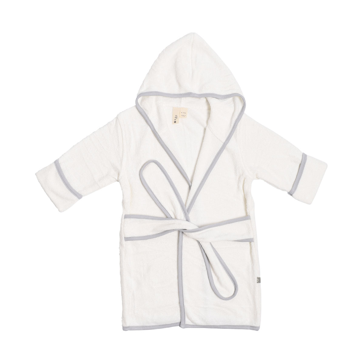Kyte Baby Hooded Bamboo Terry Bath Robe in Cloud White with Storm Grey