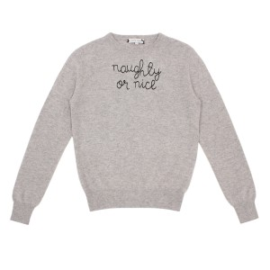 Lingua Franca Adult Cashmere Sweater in Light Grey w/ Naughty or Nice embroidery