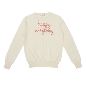 Lingua Franca Adult Cashmere Sweater in Ivory w/ Happy Everything embroidery