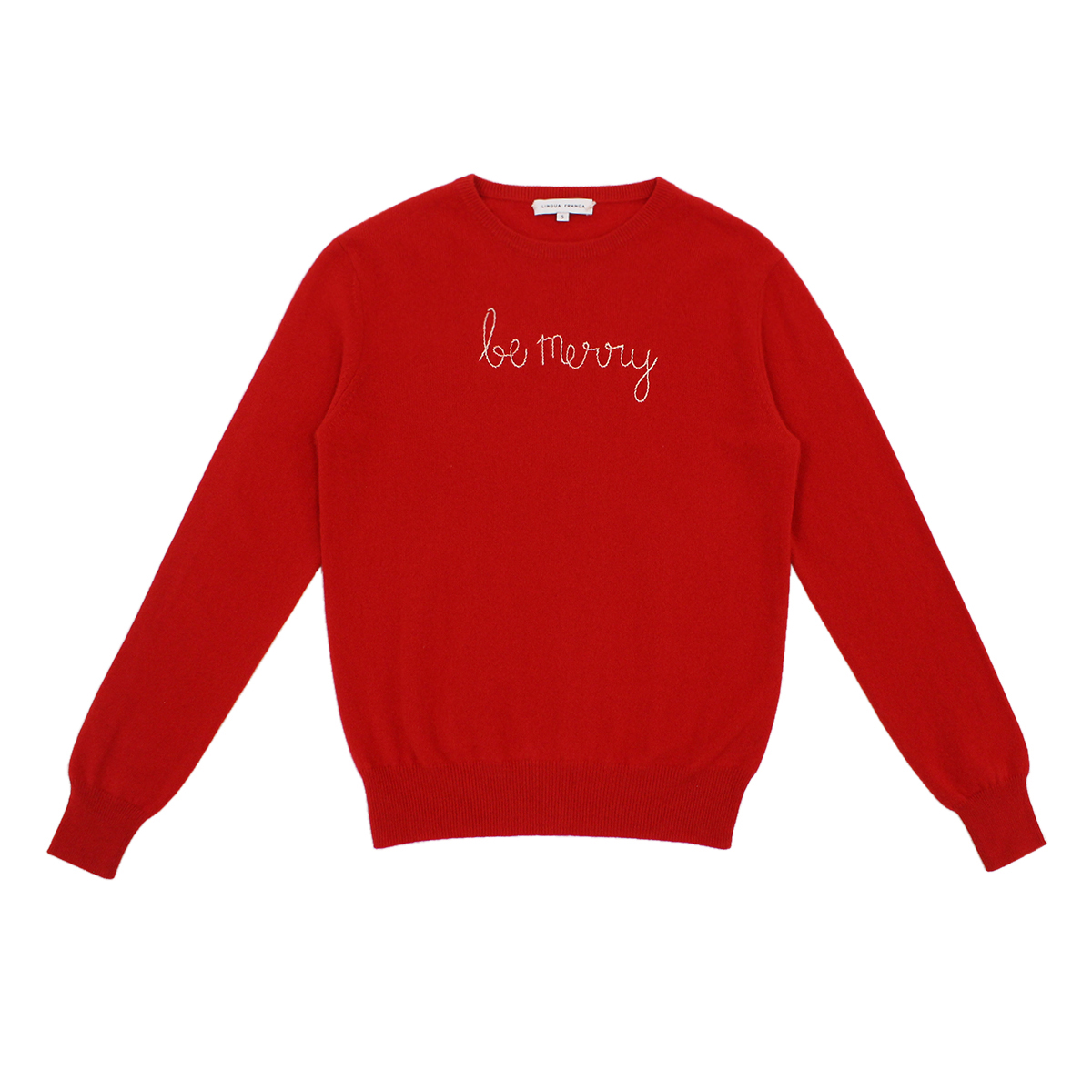 Lingua Franca Adult Cashmere Sweater in Red w/ Be Merry embroidery