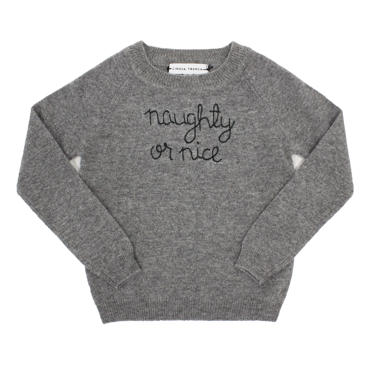 Lingua Franca Kid's Cashmere Sweater in Grey w/ Naughty or Nice embroidery