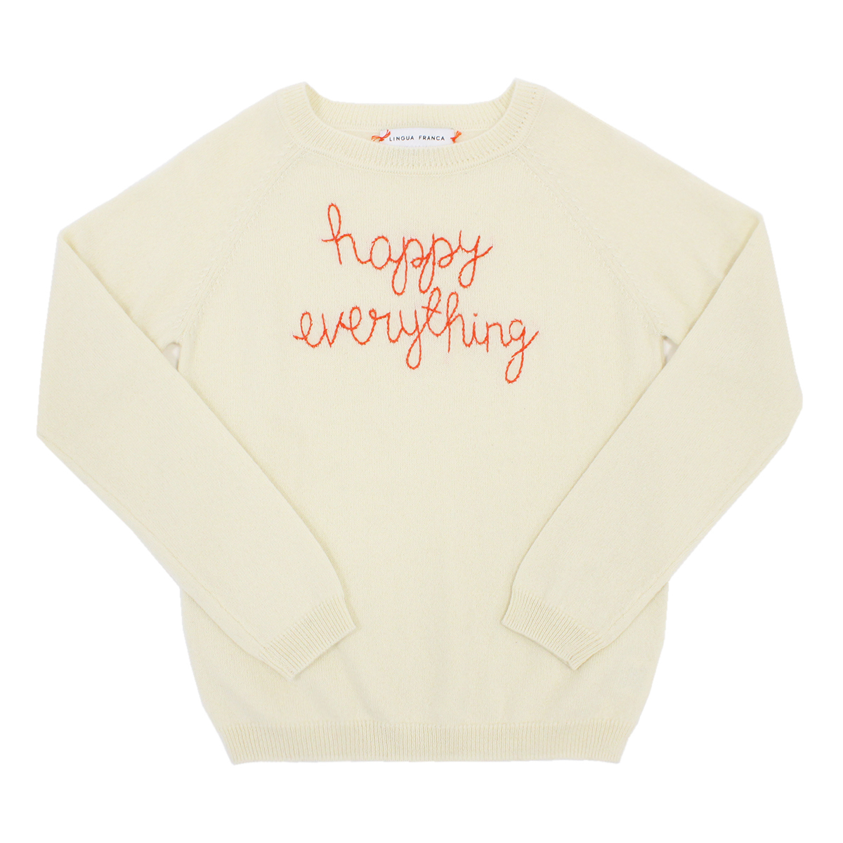 Lingua Franca Kid's Cashmere Sweater in Ivory w/ Happy Everything embroidery