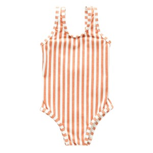 Zulu & Zephyr One Piece Swimsuit in Rust & White Stripe