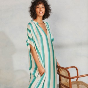 Cool Change Teegan Caftan in Bora Bora Stripe on Woman
