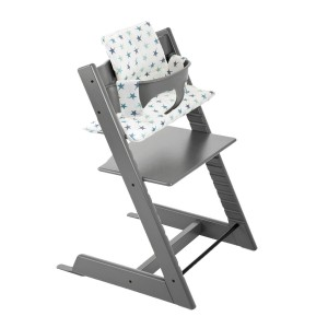 Stokke Tripp Trapp in Storm Grey with Aqua Star Cushion