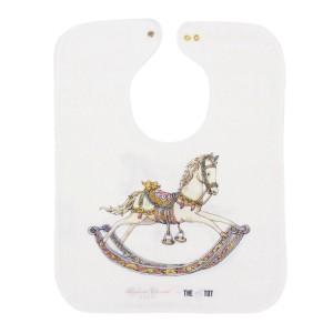 Large Atelier Choux x The Tot Bib with a rocking horse print