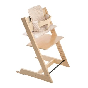 Stokke Tripp Trapp in Natural with Beige Stripes Cushion
