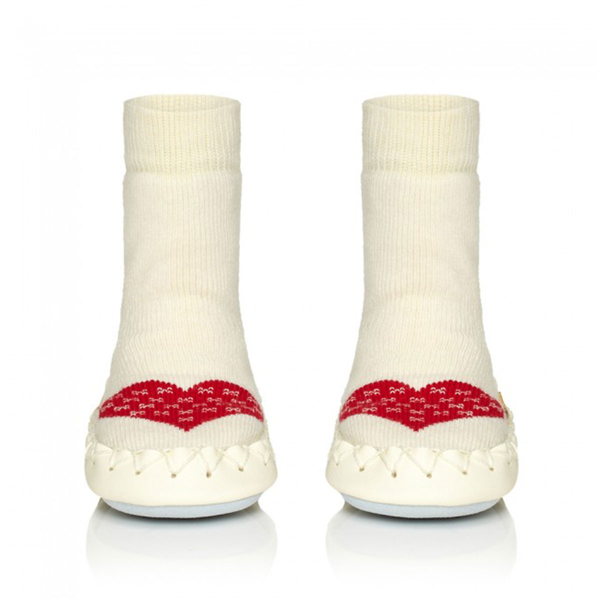 Moccis Sock Mocassins in Cream with Red Heart