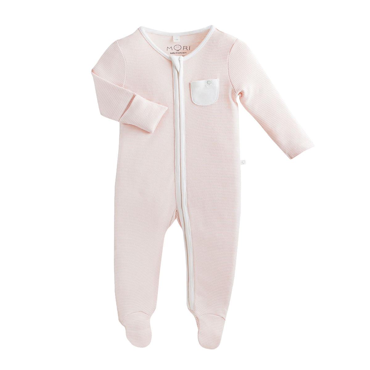 Mori Zip Up Sleepsuit in Blush Stripe
