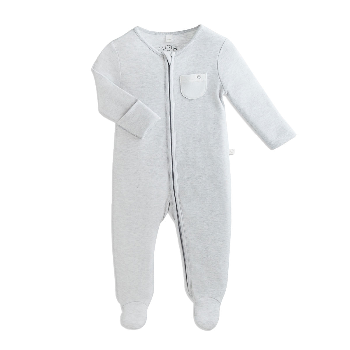 Mori Zip Up Sleepsuit in Grey