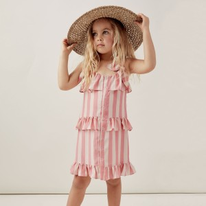 Lil Lemons Spaghetti Strap Sunshine Tiered Dress in Watermelon Stripe on girl