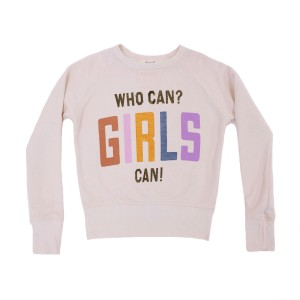 Junk Food Beige Sweatshirt with Girls Can Print