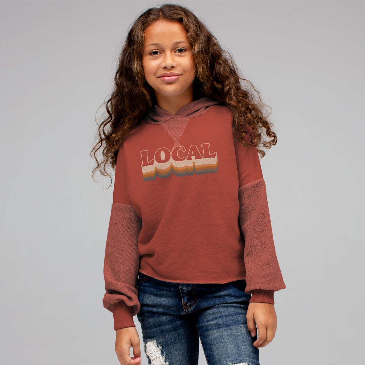 Junk Food Brick Red Hooded Sweatshirt with Local Print on girl