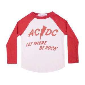 Junk Food Red & White Baseball Tee with ACDC Let There Be Rock Print